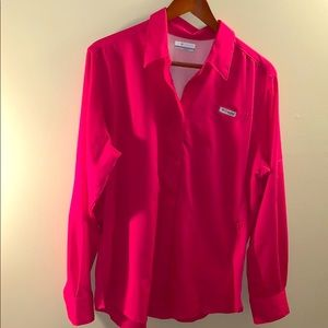 Pink Columbia golf button up